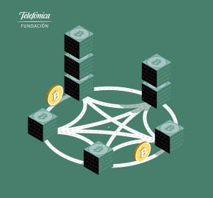Serie de ilustraciones vectoriales sobre Blockchain y criptomonedas como el bitcoin.